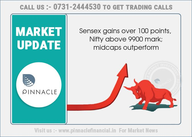 Benchmark indices extended gains from the opening tick, with the Nifty inching towards 9900-mark. The #Sensex was up 113.46 points at 31610.84, while the #Nifty was up 32.20 points at 9891.70. The market breadth was positive as 1,281 shares advanced against a decline of 608 shares, while 69 shares were unchanged. #Midcaps were trading at high points of the day and outperformed the frontline indices. Energy, FMCG and pharmaceutical stocks gained during the hour. Sun Pharmaceuticals, Dr…