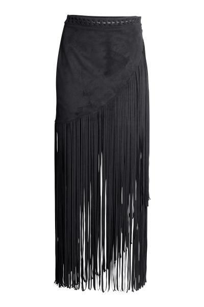 Falda cruzada con flecos | H&M