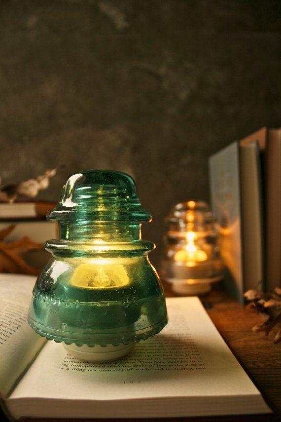 Glass Lamp Industrial Light Wedding Lighting Rustic Decor Bedside Lamp - Vintage Teal or Clear Glass Telegraph Insulator Steampunk Lamp-LukeLampCo