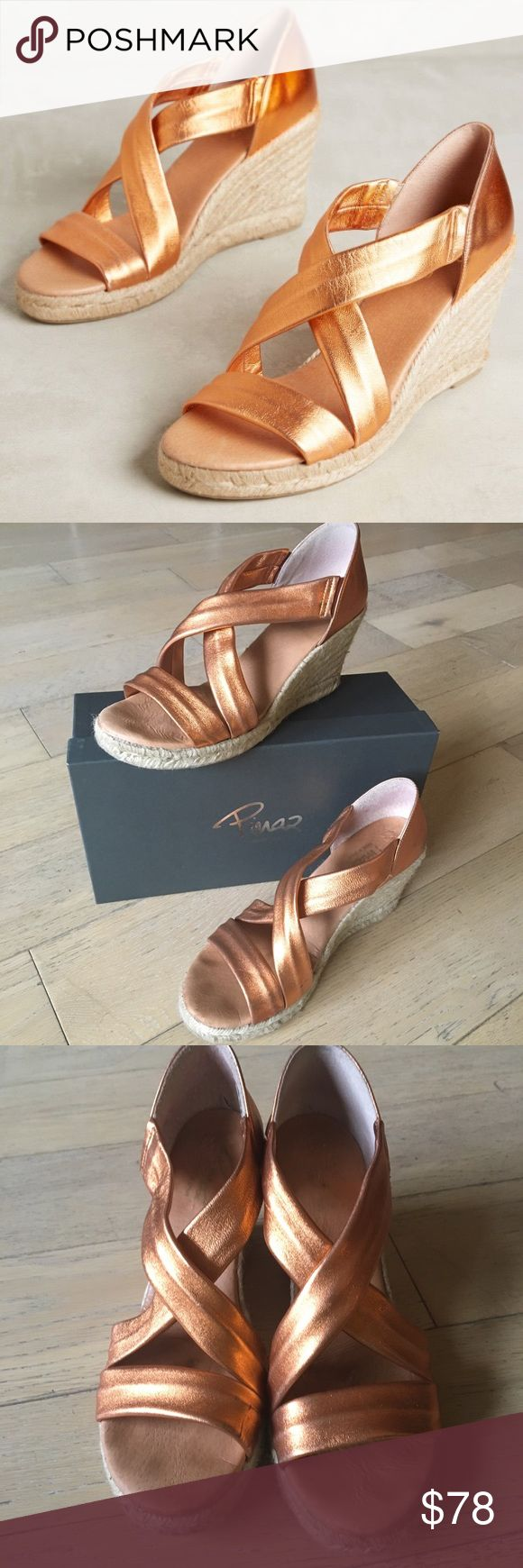 Anthropologie Metallic Espadrilles by Piñaz Really fun and super comfy metallic espadrilles by Spanish show brand Piñaz. Signs of wear to metallic straps and inside of heel. Not noticeable while wearing. Box included Anthropologie Shoes Espadrilles