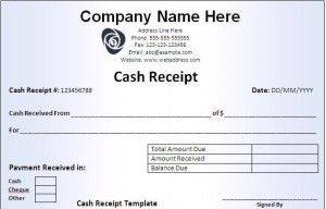 Starting her Business; Cash Receipt Template