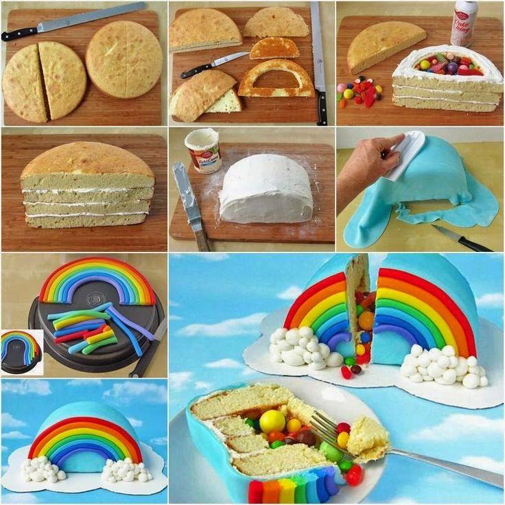 como fazer bolo arco-íris colorido pasta americana