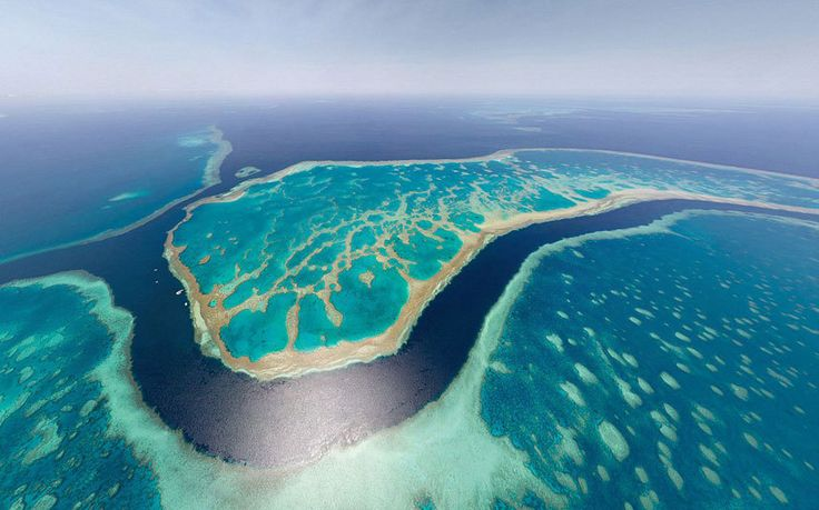AirPano's incredible views of cities from above. The Great Barrier Reef, Australia