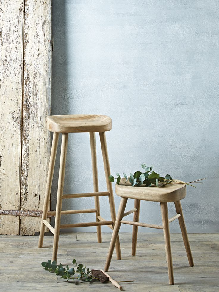 Weathered Oak Stools  |  Cox & Cox - The blue, the blonde, the rustic, the greenery THE look of Spring 2014 for Chez Carmen!