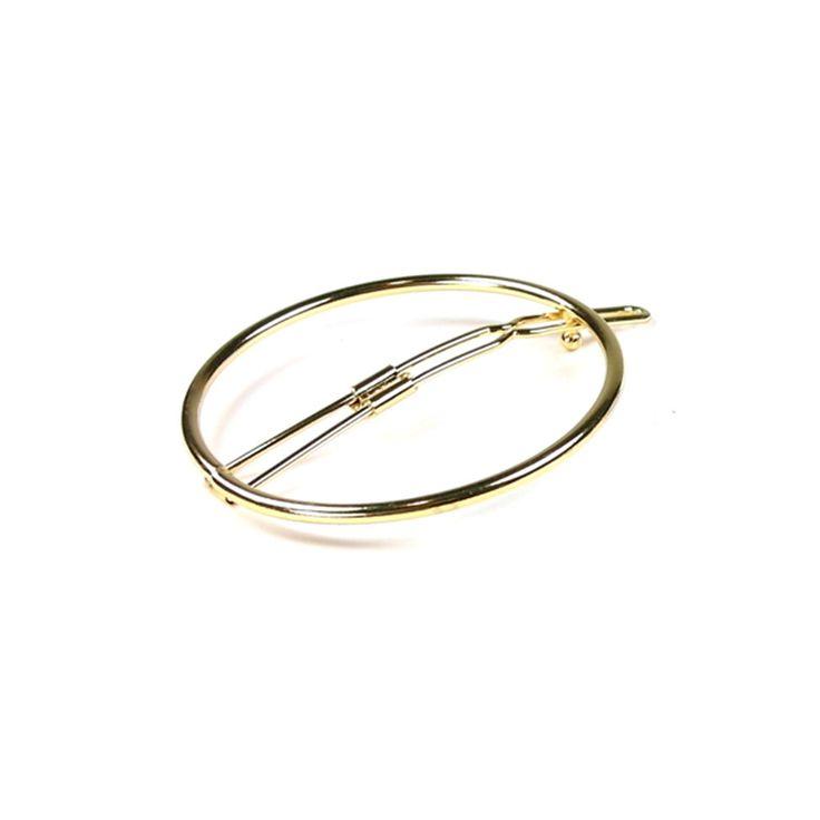 Snygg hårklämma rund ring. Metall. Diameter 5,5 cm