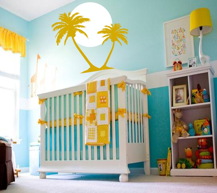 Your Little One Will Love These 8 Gender Neutral Nurseries: Tropical Summer Sunrise With Palm Trees