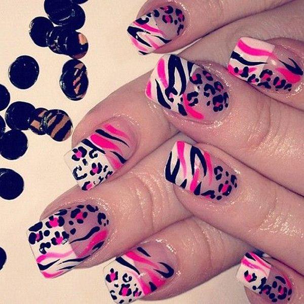 Pink, black and white cheetah nail art