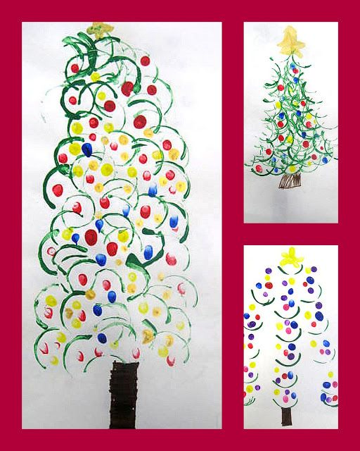 {Christmas tree art}... end of paper towel roll dipped in green paint... fingerprints for ornaments