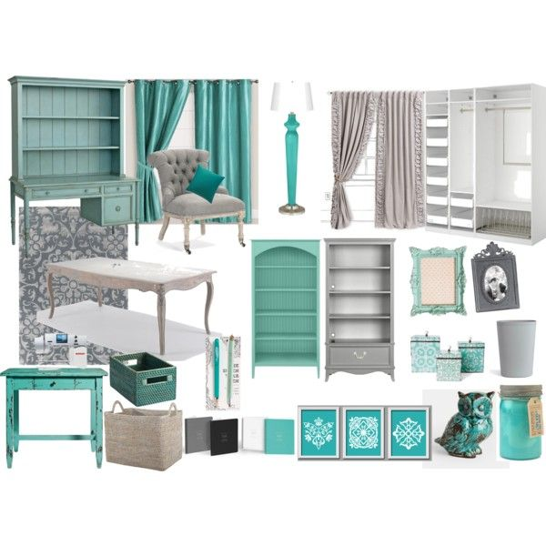 """Teal and Grey Office/Library/Craftroom"" by kyrie-akers-hubbard on Polyvore"