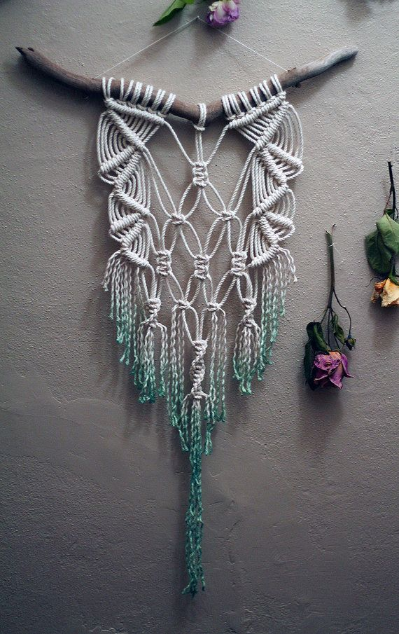 Dip Dyed Teal Macramé Wall Hanging