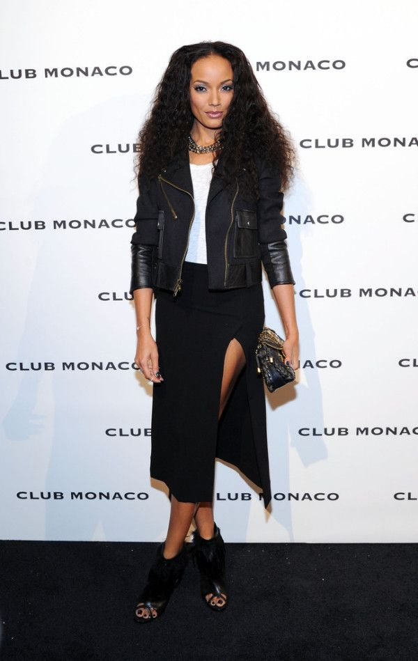 Selita Ebanks wearing the Rory Wool and Leather Jacket #CM5thave