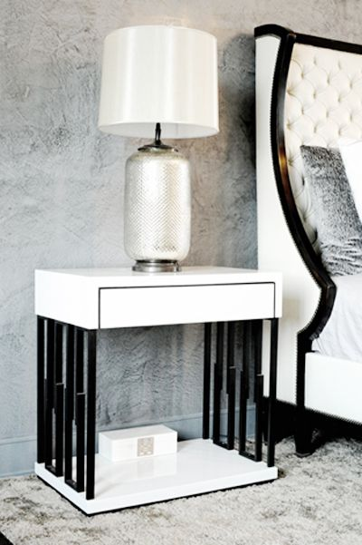 Custom Made Nightstands Finished In White High Gloss. Steel Base Night Stand  From Aguirre Design Inc, Contemporary