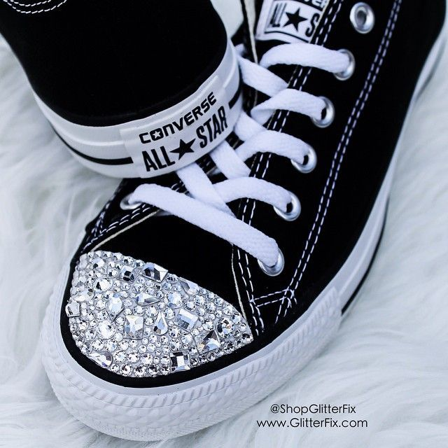 black • converse • rhinestones