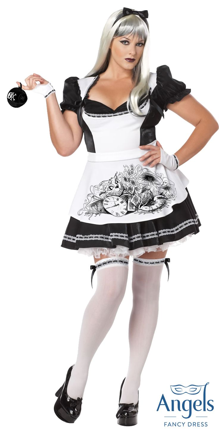 White apron fancy dress - Adult Black And White Dark Alice Costume Comes Complete With Black And White Dress With Attached Printed Apron Glovelettes And