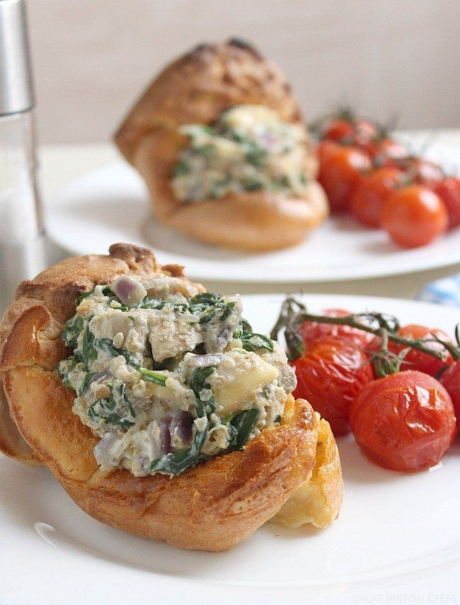 Creamy mushroom and brie stuffed yorkshire puddings for Vegetarian christmas stuffing