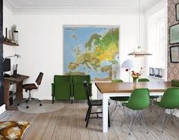 Brinjas hem i sköna hem 2010: Office, Interior, Dining Room, Idea, Inspiration, Workspace, Maps, Green Chairs