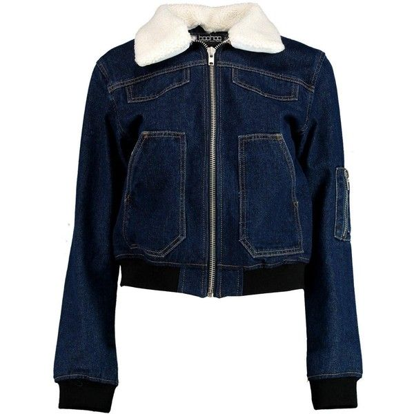 Boohoo Betty Borg Collar Denim Bomber Jacket | Boohoo ($44) ❤ liked on Polyvore featuring outerwear, jackets, denim bomber jacket, flight jacket, blue bomber jacket, denim jacket and fleece-lined jackets