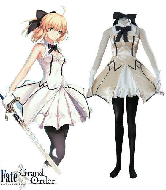 Fate//Grand Order Saber lily//Arturia Pendragon Black Dress Cosplay Costume