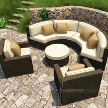 Forever Patio Hampton 6-Person Resin Wicker Patio Sectional Set - Chocolate : Ultimate Patio