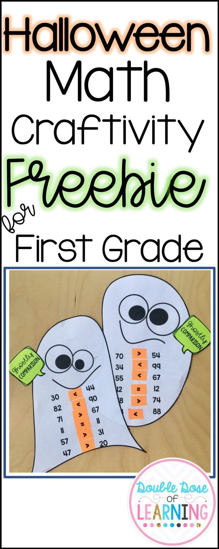 First Graders LOVE to have spooky fun in October and we made it easy for you to give your students math practice this Halloween season with a cute ghost craft. It can also be used for an easy bulletin board display! Win-Win!