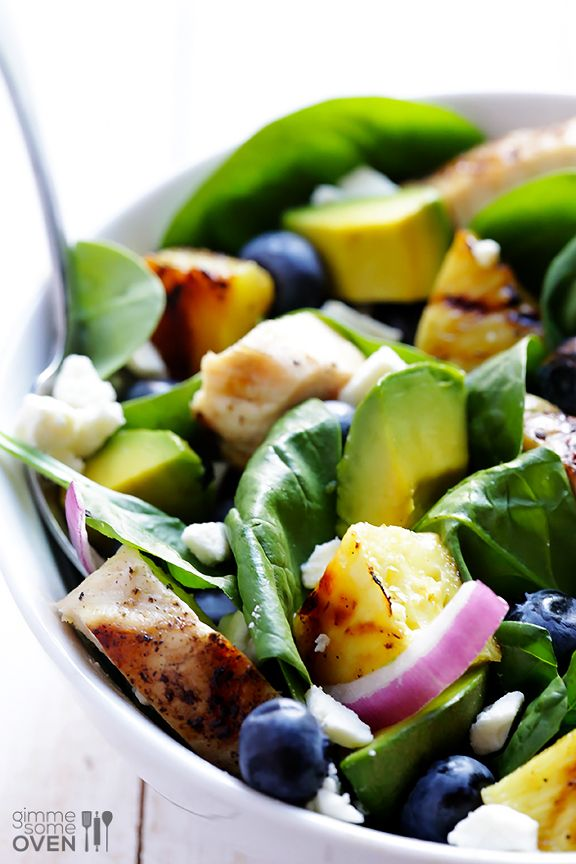 Grilled Pineapple, Chicken & Avocado Salad and Honey-Garlic Vinigarette Recipe - with spinach, blueberries, red onions, Feta