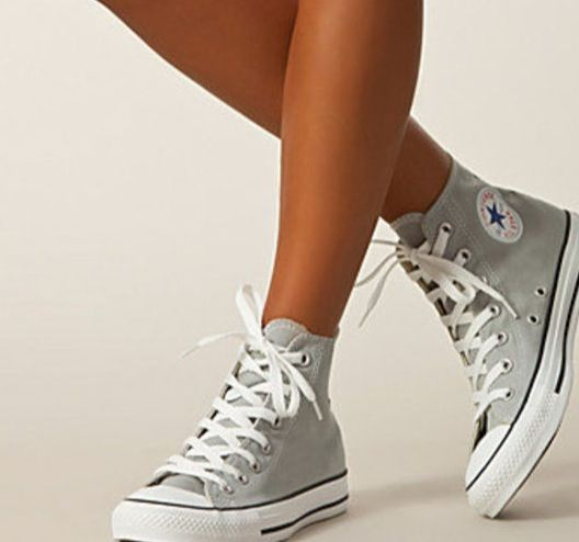 Grey hightops converse