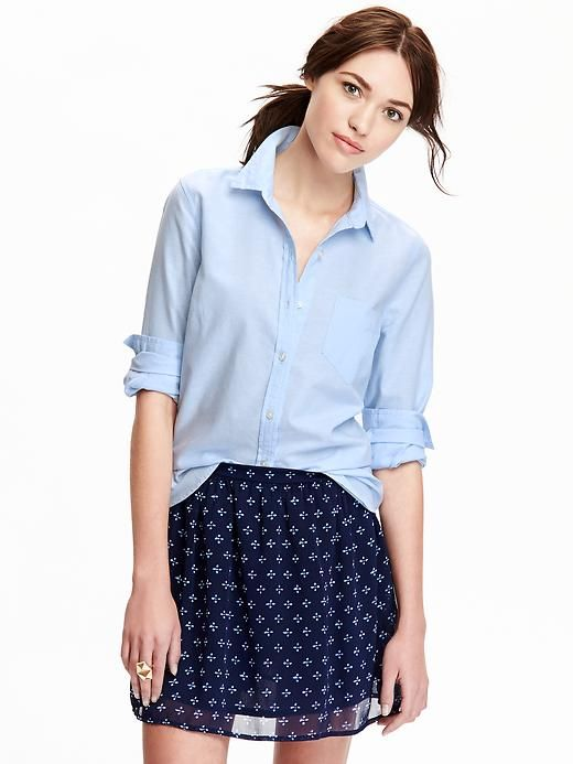 Women's Classic Oxford Shirt I don't think a straight size will fit across my bust and arms, but I wish I could have one in every color.