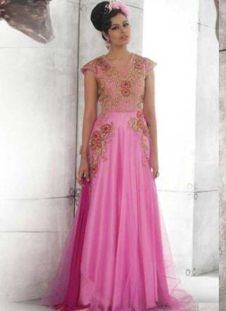 Precious Pink Embroidery Work Net Santoon Evening Gown