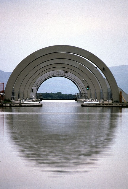 Top basin Falkirk Wheel in Scotland from the mouth of the Bridgecastle tunnel .... photopath - david