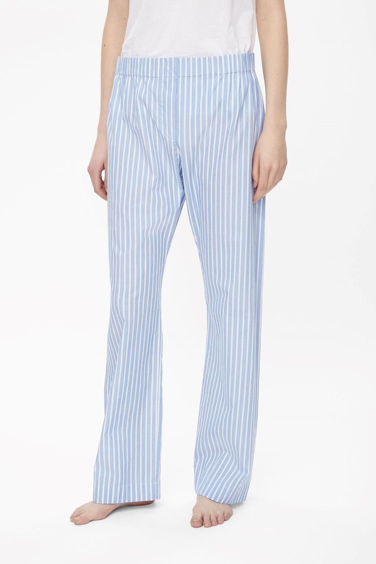COS image 2 of Striped pyjama trousers in Sky Blue