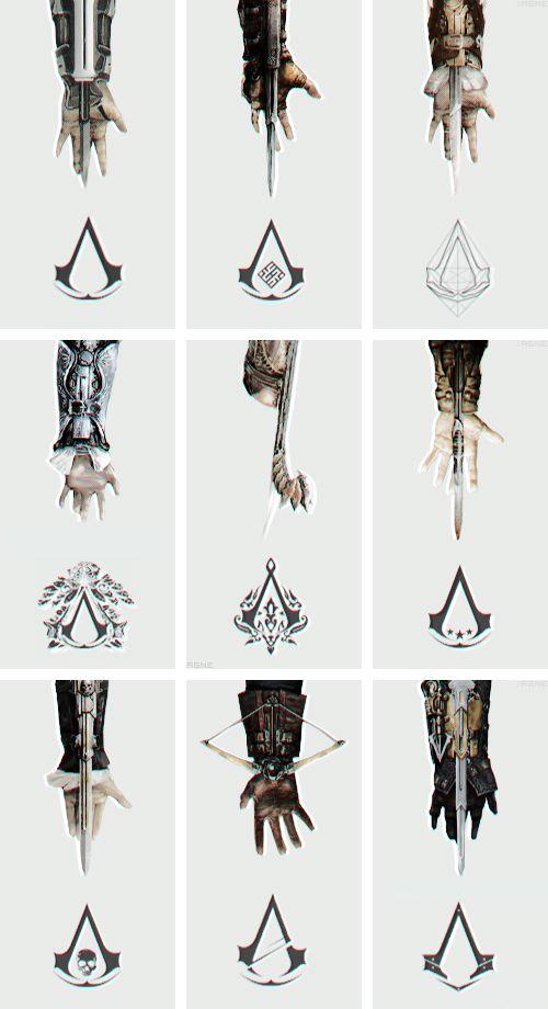 Hojas ocultas distintas de Assassin's Creed junto a sus respectivos logos