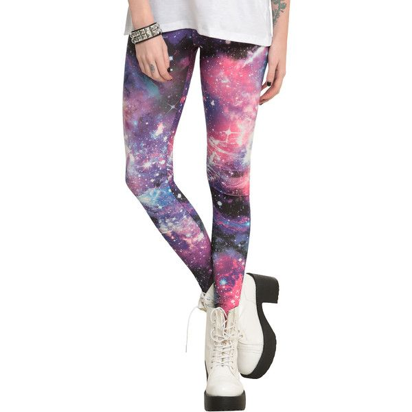Blue And Pink Galaxy Leggings ($20) ❤ liked on Polyvore featuring pants, leggings, galaxy, hot topic, pink pants, blue leggings, galaxy leggings and galaxy pants