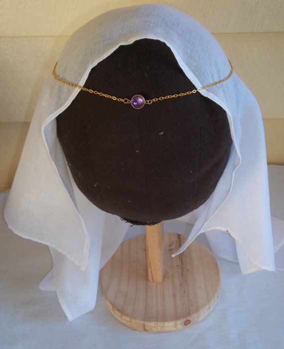 Gold-tone/Brass Medieval CIRCLET with an Authentic Cabochon AMETHYST in a BRASS Setting  Fully adjustable Gold-tone Chain with Parrot Clasp.  Find me on Facebook!  :)
