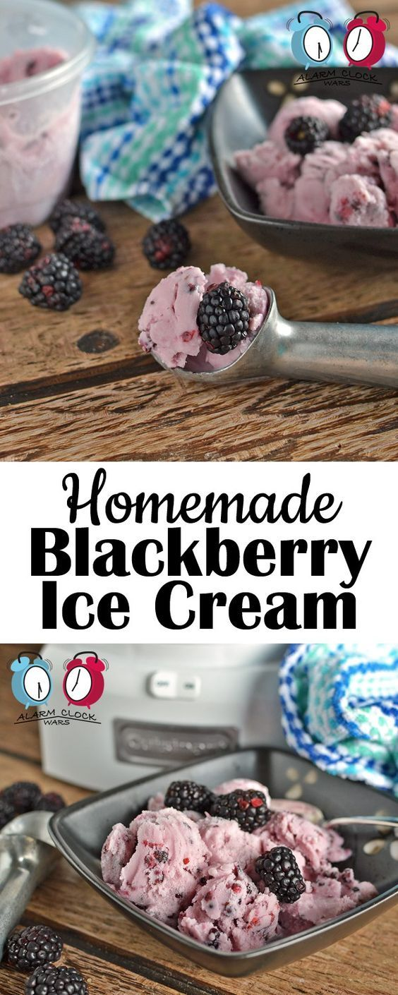 Homemade Blackberry Ice Cream from Alarm Clock Wars. This ice cream is so easy to make. Use fresh or frozen blackberries in this homemade ice cream recipe to enjoy the taste of summer all year long!