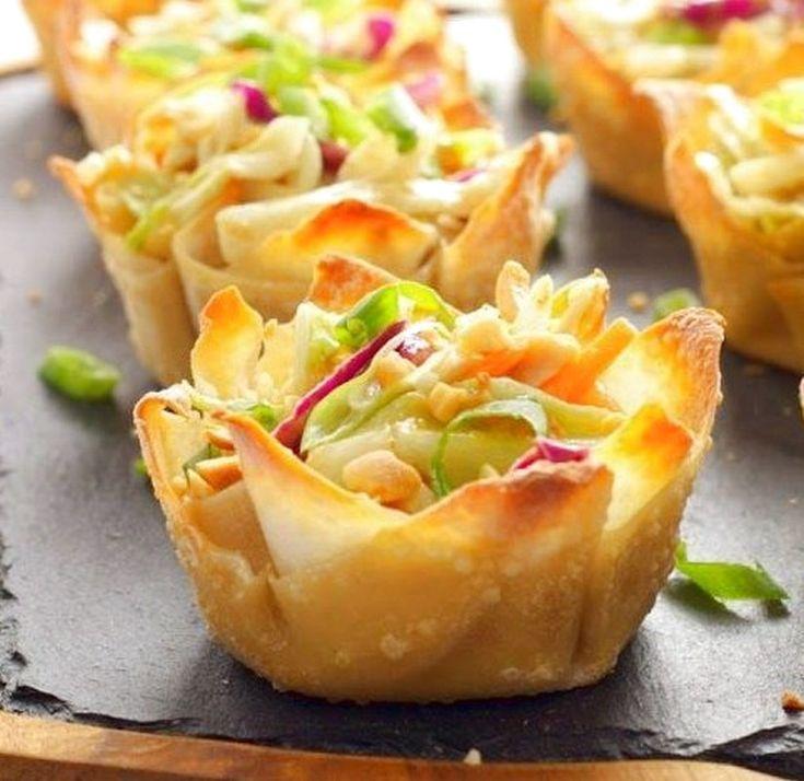 Thai Peanut Salad Wonton Cups | Food Recipes