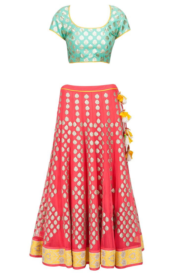 Watermelon pink, blue and yellow applique lehenga set available only at Pernia's Pop-Up Shop. #amritathakur #designer #collection #lehenga #ethnic #indian #shop #buy #wear #collection #fashion #style