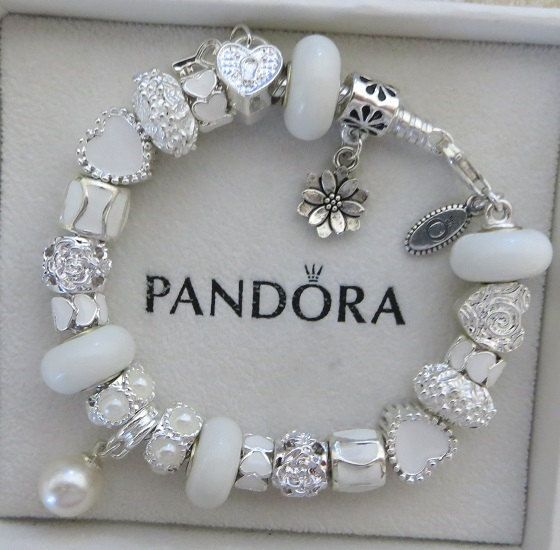 Authentic Pandora Sterling Silver 925 ALE Bracelet with European Beads and Charms Winter White F2