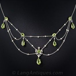 Edwardian Peridot, Diamond, and Pearl Necklace - Edwardian Jewelry - Vintage Jewelry