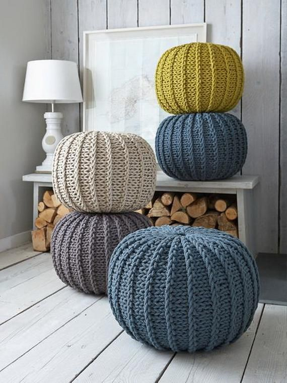 Super soft poufs made of knitted ribbon yarn. Cozy poufs for the interior. Knitted poof. Soft furnit