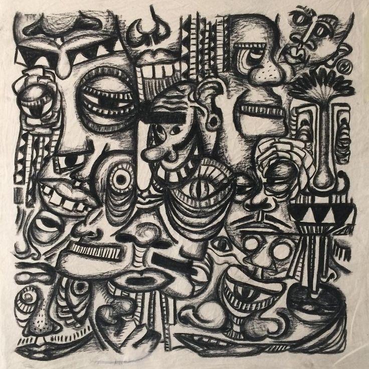 "Gefällt 132 Mal, 9 Kommentare - Janina Müller (@janinacarlottaeleonora) auf Instagram: ""Charcoal on canvas, 100x100cm #charcoal #canvas #face #head #people #sketch #drawing #black…"""