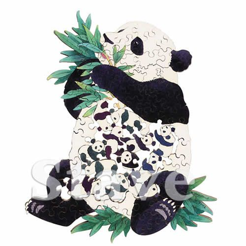 Stave Teaser Puzzle: Pandamonium    Fifteen little panda bears nestle inside big panda. You'll love how sweetly they hold on to each other, paw to paw, paw to ear, cheek to ear. These little bamboo munchers just might bamboozle you. Will they?