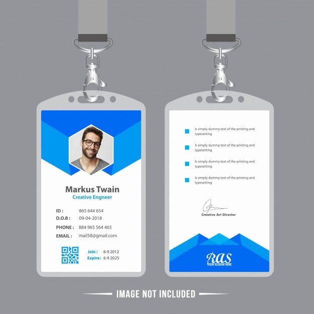 Employee Identity Card Template Best Of Blue Employee Id Card Design Template Vector Employee Id Card Identity Card Design Card Design
