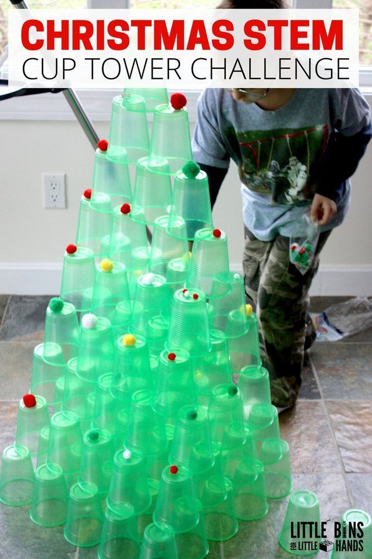Christmas Cup Tower STEM Challenge to build a Christmas tree