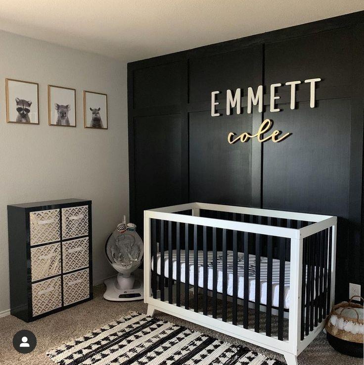 Black White And Gold Nursery Baby Room Design Boy