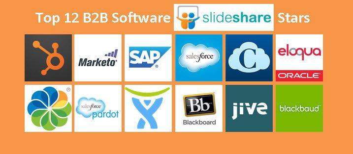 Top 12 B2B Software @SlideShare Stars @HubSpot @Marketo Inc. @SAP @Salesforce Marketing Cloud @Cornerstone OnDemand @Eloqua @Pardot @Blackboard @Jive Software @Blackbaud #b2b #marketing #software #slideshare