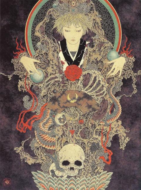 Yamamoto Takato Yamamoto Takato: Surrealism Art, Vampires, Yamamoto Takato, Black Swan, Illustration, Skulls Paintings, Takato Yamamoto, Skulls Artworks, Takatoyamamoto