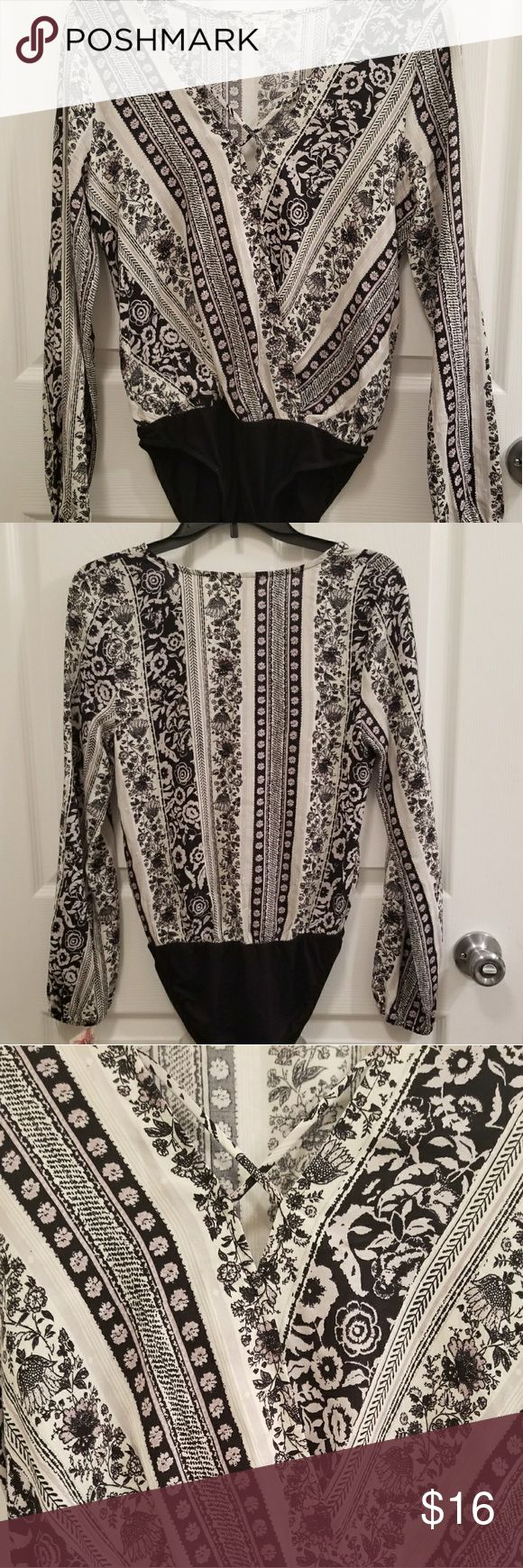 """Bodysuit Blouse Lovely bodysuit blouse never have to worry about """"hanging out """"during work hours ladies (: About A Girl Tops Blouses"""