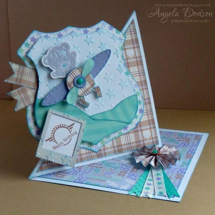 Tiny Tatty Teddy baby boy Aeroplane Twisted Easel Card by Angela
