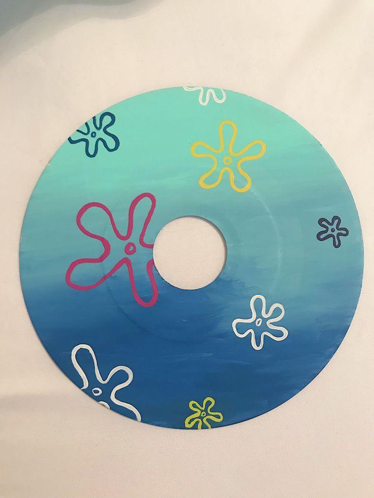 Original Vinyl Record and Canvas Decor by KaciUS Easy Canvas Art, Small Canvas Art, Cute Canvas, Mini Canvas Art, Diy Canvas, Cd Wall Art, Record Wall Art, Cd Art, Indie Room Decor