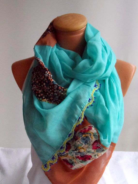 OOAK authentic handmade scarf turquoise and brown color by Ellde